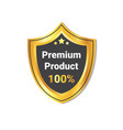 premium product label golden shield seal isolated vector image vector image