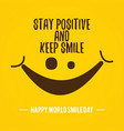 quote design world smile day on yellow vector image vector image