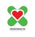 red heart and green crest - logo template vector image