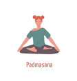 relaxed girl with closed eyes sitting in padmasana vector image