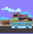 residential modern house with bus stop and bus vector image vector image