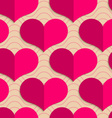 Retro fold pink hearts on waves vector image vector image