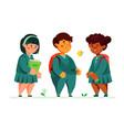 schoolchildren standing together - colorful flat vector image vector image