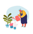 senior woman gardening hobby aged grey haired vector image
