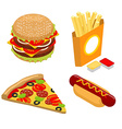 Set Fast food isometrics Big juicy hamburger and vector image vector image