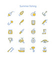 set of colored icons for summer fishing vector image