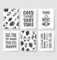 set of fashion cards hand drawn patterns hipster vector image vector image
