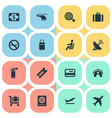 set of simple travel icons vector image vector image