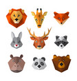 set of wild animals in low poly style animal icon vector image