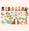 set summer cute women vector image