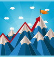 success and leadership concept with mountain vector image