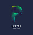 the letter p latin alphabet display vector image vector image
