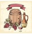 Wine vintage hand drawn vector image vector image