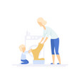 young woman doing laundry little son helping her vector image vector image