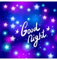 Good night letter Abstract neon star on blue vector image