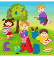 children on grass reading book vector image