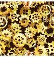 Clockwork mechanism seamless pattern with golden vector image