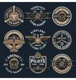Brown Airplane Emblem Set vector image