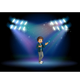 A teenager in the middle of the stage vector image