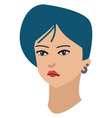 abstract cartoon a girl with short blue hair vector image vector image