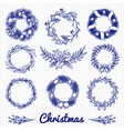 ballpoint pen drawing christmas doodle wreath vector image