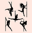 beautiful pole dancer silhouette 03 vector image vector image