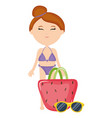 beautiful woman with swimsuit and handbag vector image