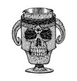 black and white scary skull vector image vector image