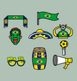 brazil soccer supporter gear set vector image vector image