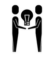 business men holding bulb creativity work team vector image