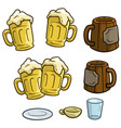 cartoon colorful different beer mugs set vector image vector image
