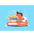 Cartoon man sleep on book vector image vector image