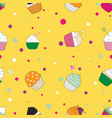 colored cupcakes pattern vector image vector image