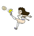 comic cartoon female soccer player kicking ball vector image vector image