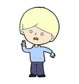 comic cartoon unhappy boy giving peace sign vector image vector image