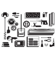 construction power tools and materials on floor vector image vector image