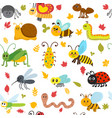 Cute cartoon seamless pattern with insects and