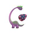 cute violet brachiosaurus dinosaur with green vector image vector image