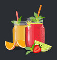 delicious fruit juices in a jar on a black vector image