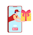 delivery man with gift box vector image vector image