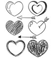doodle art for different shapes of hearts vector image vector image