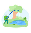 fisherman character with rod catching fish in pond vector image