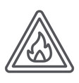 flammable sign line icon warning and attention vector image vector image