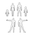 Full length front back human outlined silhouette vector image vector image