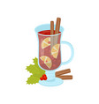 glass mug of mulled wine with cinnamon sticks and vector image vector image