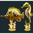 Golden fish and seahorse with pearls vector image