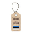 hang tag made in estonia with flag icon isolated vector image vector image