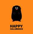 happy halloween monster black silhouette fang vector image