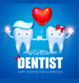 helthy teeth with toothpaste bubbles bow and red vector image