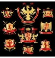 Heraldic labels gold red vector image vector image